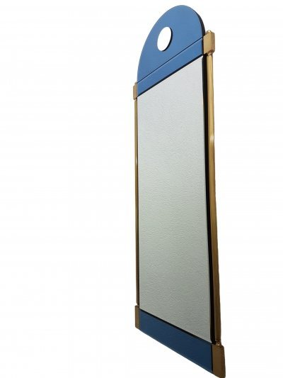 Large luxury brass Neoclassical mirror with blue & clear mirror glass by Schöninger, 1970s