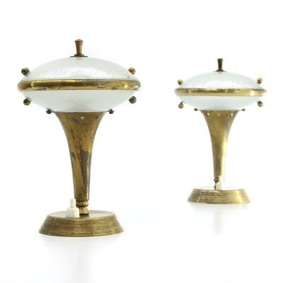 Pair of Italian brass & glass bedside lamps, 1950s
