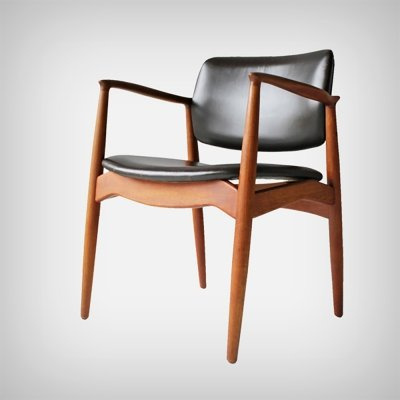 Teak & Leather Armchair SJ 67 Captain's Chair by Erik Buch for Ørum Møbler