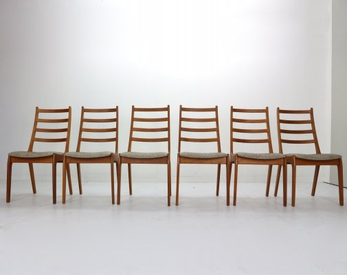 Set of 6 Kai Kristiansen Teak Ladder Dining Chairs, Denmark 1960s