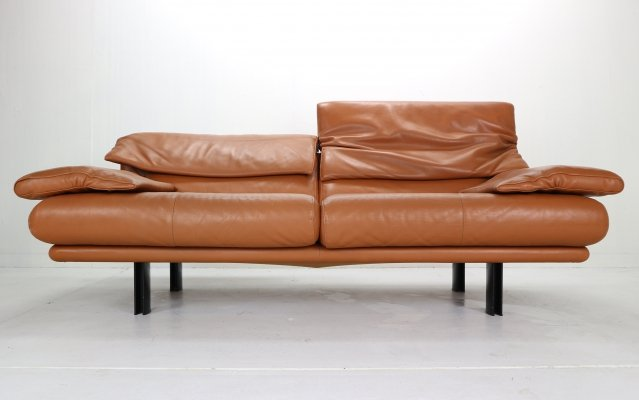 Paolo Piva for B&B Italia 'Alanda' Cognac Leather Two Seater Sofa, 1980s