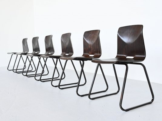 Elmar Flototto S23 stacking chairs by Pagholz, Germany 1970