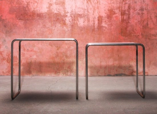 Pair of original B9 Bauhaus Side Tables by Marcel Breuer, 1970s