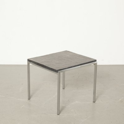 Natural stone side table with chrome base