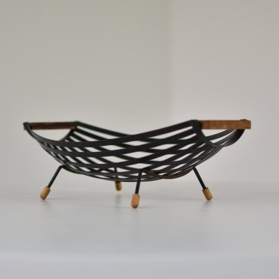 Decorative metal & teak (fruit) bowl, 1950's