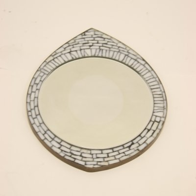 Mosaic 'Eye' Wall mirror with white glass stones, 1960s
