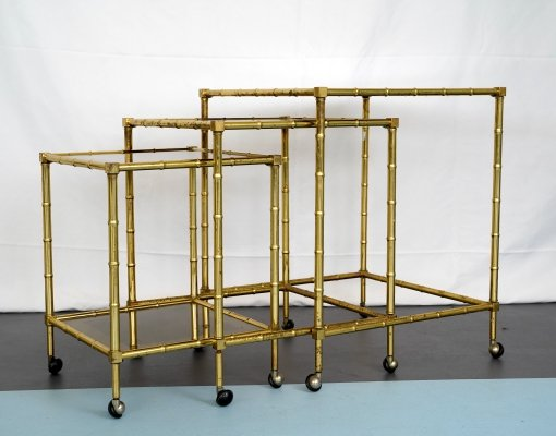 Tris of Faux Bamboo Gilded Brass Nesting Bar Cart, Italy 1960s