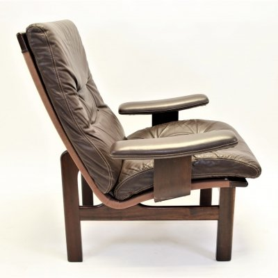 Vintage leather relax fauteuil with wooden frame, 1960s