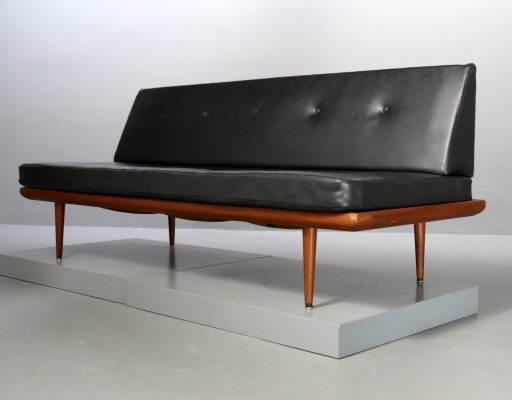 Teakwood & Vegan Leather Minerva Sofa by Peter Hvidt for France & Son, 1960s