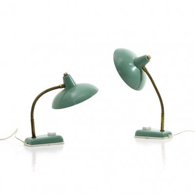 Pair of green Italian table lamps, 1950s