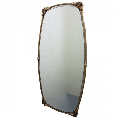 Mid-century neoclassical oval brass mirror, 1950s