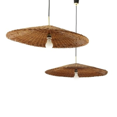 Pair of pendant lamps with rattan shades, 1950s