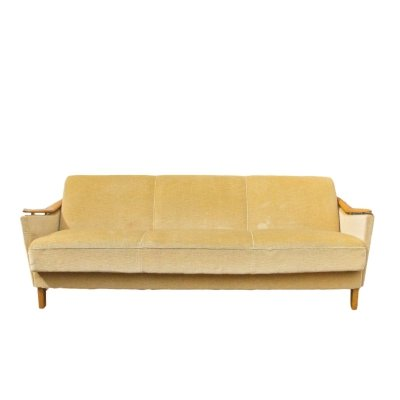Fifties daybed with wooden armrests in beige