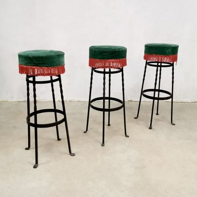 Set of 3 midcentury French corduroy barstools, 1950s