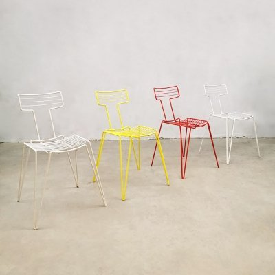 Set of 4 vintage metal wire chairs, 1980s