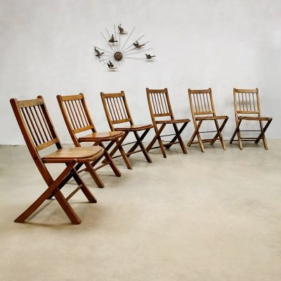 Set of 6 Asian folding garden chairs, 1930s