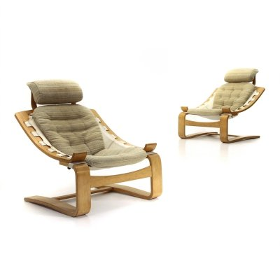 Pair of Kroken armchairs by Ake Fribytter for Nelo Mobel, 1970s