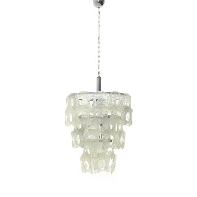 Italian Chandelier with White Murano Glass Elements, 1970s