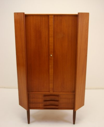Danish corner cupboard in teak with three drawers & doors, 1960s
