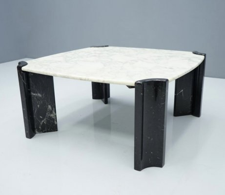 Black & White Marble Coffee Table, Italy 1970s