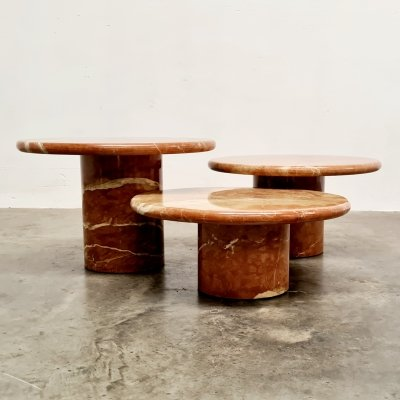Set of 3 red marble coffee tables, 1970s