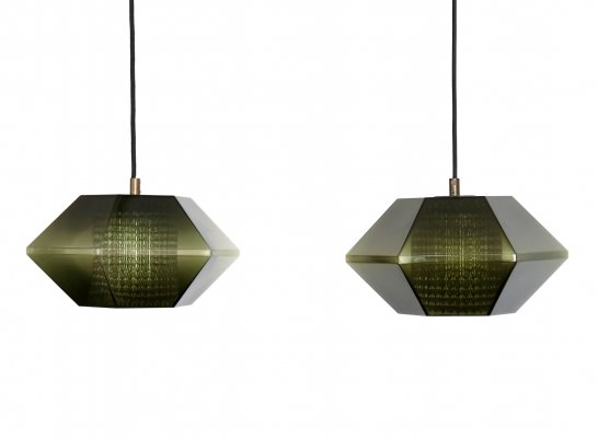 Pair of Carl Fagerlund for Orrefors green glass hanging lamps, 1960s