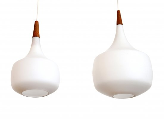 Set of two Holmegaard opaline glass pendant lamps, 1960s