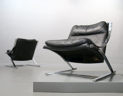 Black leather Zeta Chair by Paul Tuttle for Strässle, Switzerland 1970s