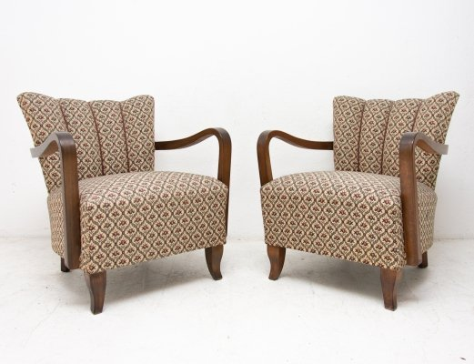 Pair of cocktail armchairs by Jindrich Halabala, Czechoslovakia 1950s
