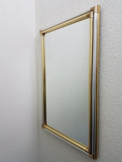 Large luxury Hollywood Regency brass & chrome mirror, 1970s