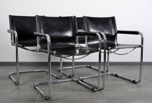 Set of 4 saddle leather chairs by Fasem, 1980s