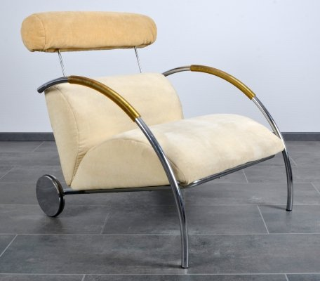 Zyklus lounge chair in velours with big wheels by Peter Maly for Cor, 1980s