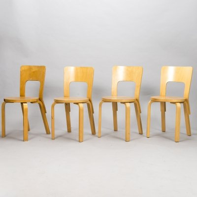 Set of 4 model 66 Alvar Aalto chairs, 1960s