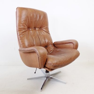 De Sede S 231 James Bond brown leather armchair, 1960s