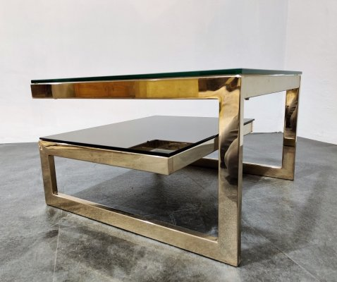Vintage two tier Belgo Chrom 23kt coffee table, 1970s