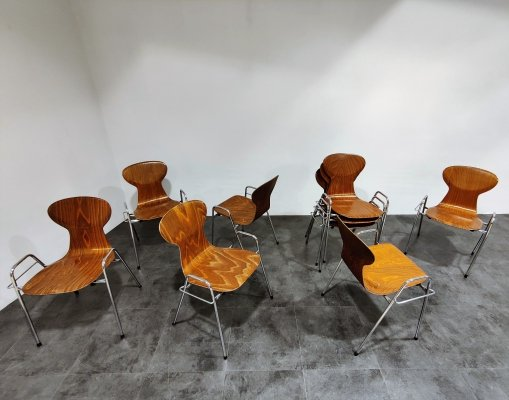 Set of 8 Vintage plywood chairs by Tubax, Belgium 1980s