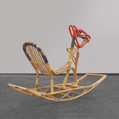 Rattan rocking horse by E.V.A. Nissen & Co (marked), Denmark 1950s