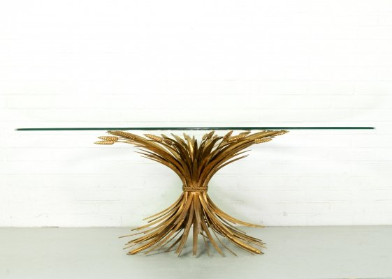 Mid Century Coco Chanel Sheat of wheat Gilt Oval Glass & brass table, 1960s
