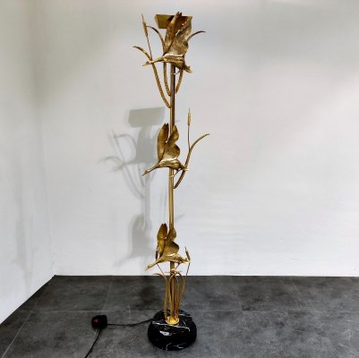 Brass heron floor lamp by L. Galeotti for L'originale, 1970s