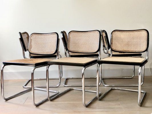 Set of six original Cesca B32 dining chairs by Marcel Breuer for Gavina, 1960's
