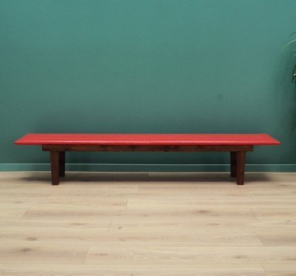 Teak Bench with red eco-leather, Danish design 1990's