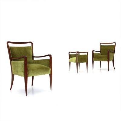 Pair of Italian green velvet armchairs with pouf, 1940s
