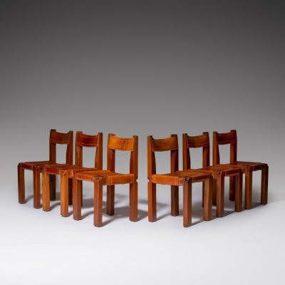 Pierre Chapo 'S11' chairs in Solid Elm & Leather, France 1960s