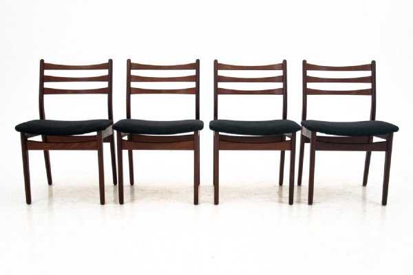 Set of 4 Danish ladder back dining chairs, 1960s