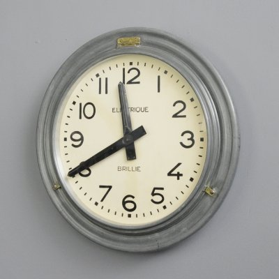 Large Zinc Wall Clock by Brillie, Circa 1930s