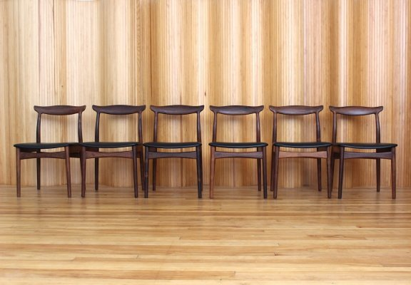 Set of 6 Erik Worts rosewood dining chairs by Vamo, Sonderborg Denmark 1950s