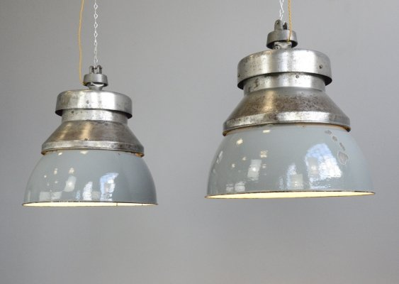 XL Factory Pendant Lights by Kandem, Circa 1930s