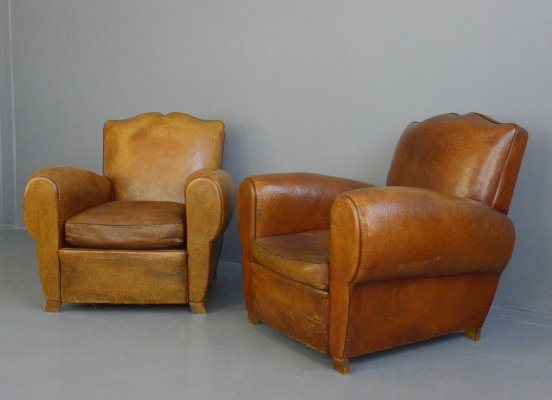 Leather Moustache Back Armchairs, Circa 1930s