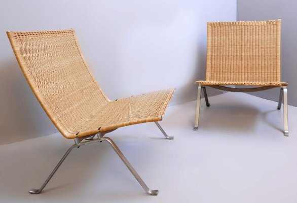 Pair of Poul Kjaerholm 'PK-22' Steel And Wicker Easy Chairs by Fritz Hansen, Denmark 1990s