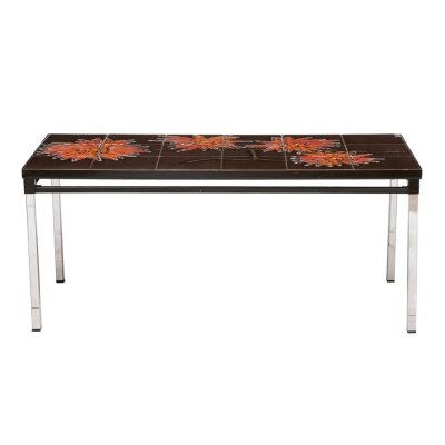 Vintage French Tile Topped Coffee Table, c.1970